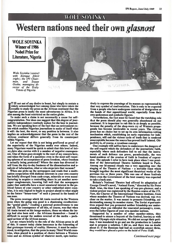 Nobel Literature Laurate Wole Soyinka of Nigeria speaks to IPI about the African press and Western propaganda in 1989.