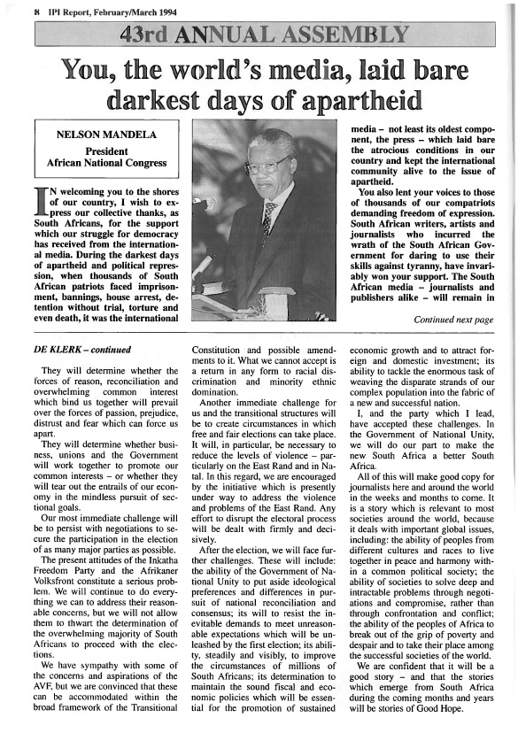 IPI Report, February/March 1994. Nelson Mandela and F.W. de Klerk address the IPI General Assembly in Cape Town, South Africa.