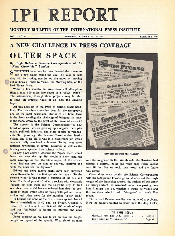 IPI Report, February 1959. Signs of a new era: press coverage of outer space.