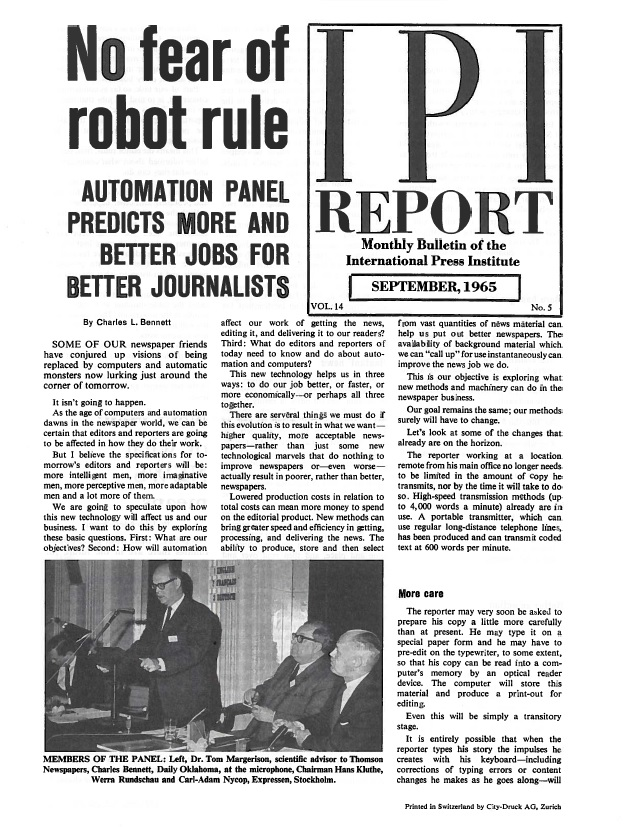IPI Report, September 1965. Processing early concerns on the meaning of the digital age for journalism.