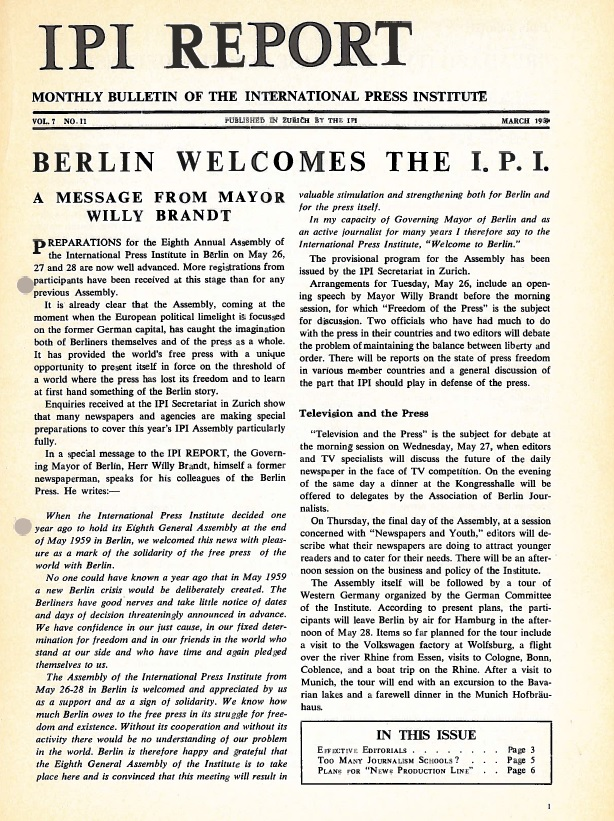 IPI Report March 1959. Berlin and then-Mayor Willy Brandt welcome IPI's 1959 General Assembly.