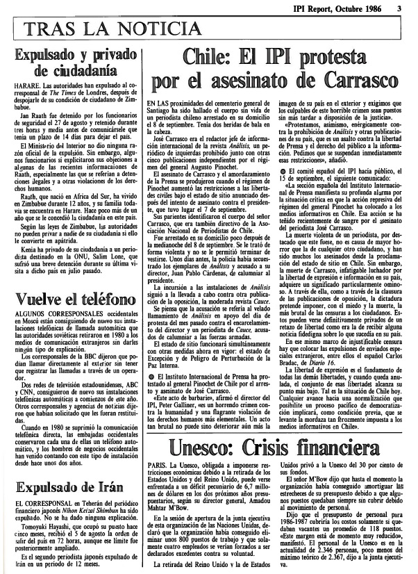 Edition of the IPI Report in Spanish, October 1986. IPI protests the murder of José Carrasco, foreign editor of the Chilean magazine Análisis.