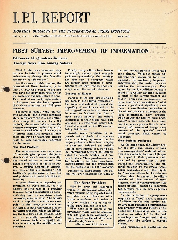 IPI Report, May 1952. The first global survey on the right to information.