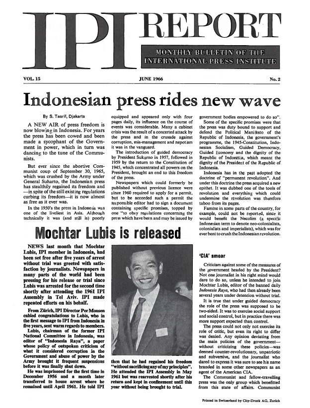IPI Report, June 1966. Celebrating the release from prison of IPI World Press Freedom Hero Mochtar Lubis.