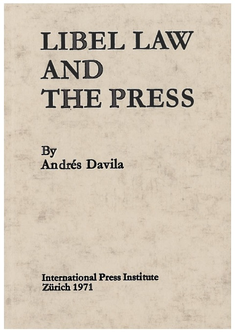 """Libel Law and the Press"", a pioneering survey into the ways in which disporportionate libel laws affect the free flow of news in the public interest."
