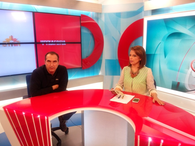 Dimitris Hortargias in an appearance on the Star television network. Photo courtesy Dimitris Hortargias.